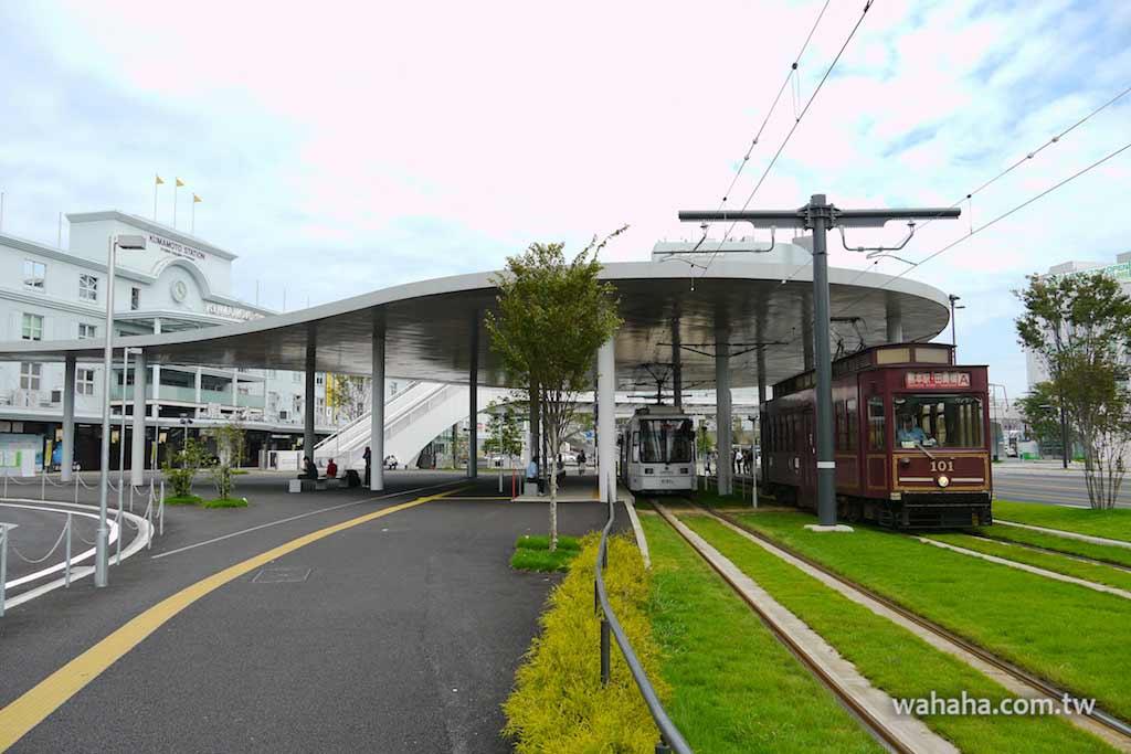 怒濤更新之路面電車(84):JR熊本站前的「大杓子」,熊本市電熊本駅前站